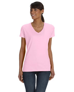 Classic Pink Women's 5 oz., 100% Heavy Cotton HD™ V-Neck T-Shirt