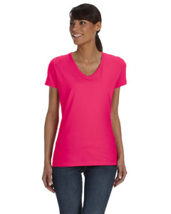 Cyber Pink Women's 5 oz., 100% Heavy Cotton HD™ V-Neck T-Shirt
