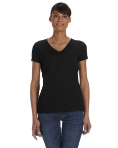 Black Women's 5 oz., 100% Heavy Cotton HD™ V-Neck T-Shirt