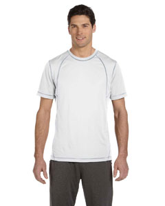White/grey Men's Short-Sleeve Interlock Pieced T-Shirt