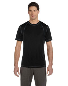 Black/slate Men's Short-Sleeve Interlock Pieced T-Shirt