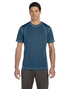 Steel Blue/grey Men's Short-Sleeve Interlock Pieced T-Shirt