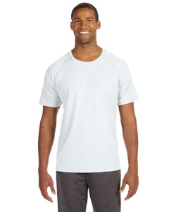 White Men's Performance Short-Sleeve Raglan T-Shirt