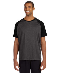 Dk Gry Hthr/blck Men's Performance Short-Sleeve Raglan T-Shirt