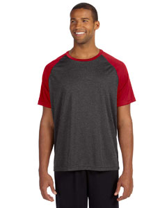 Dk Gry Hth/sp Rd Men's Performance Short-Sleeve Raglan T-Shirt