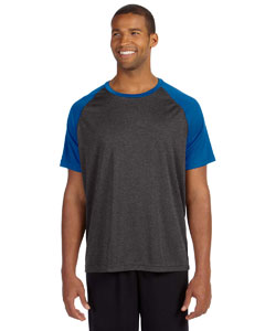 Dk Gry Hth/sp Ry Men's Performance Short-Sleeve Raglan T-Shirt