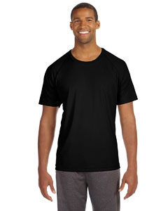 Black Men's Performance Short-Sleeve Raglan T-Shirt