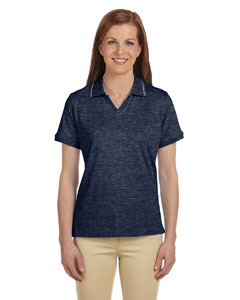 Navy/grey Heather Women's 5.9 oz. Cotton Jersey Short-Sleeve Polo with Tipping