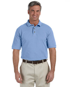 Light College Blue Men's 6 oz. Ringspun Cotton Piqué Short-Sleeve Polo