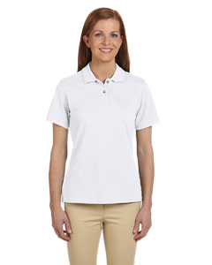 White Women's 6 oz. Ringspun Cotton Piqué Short-Sleeve Polo