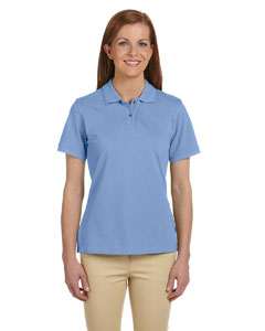 Light College Blue Women's 6 oz. Ringspun Cotton Piqué Short-Sleeve Polo