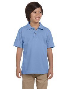 Light College Blue Youth 6 oz. Ringspun Cotton Piqué Short-Sleeve Polo