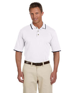 White/navy 6 oz. Short-Sleeve Pique Polo with Tipping