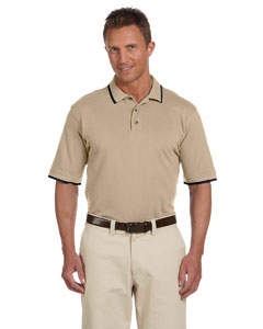 Stone/navy 6 oz. Short-Sleeve Pique Polo with Tipping