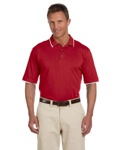 Red/white 6 oz. Short-Sleeve Pique Polo with Tipping