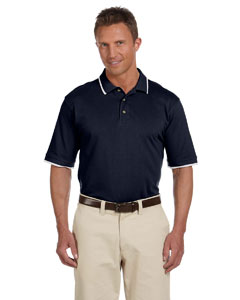 Navy/white 6 oz. Short-Sleeve Pique Polo with Tipping