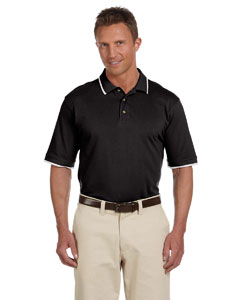 Black/white 6 oz. Short-Sleeve Pique Polo with Tipping