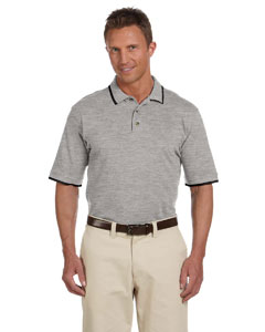 Grey Heather/black 6 oz. Short-Sleeve Pique Polo with Tipping
