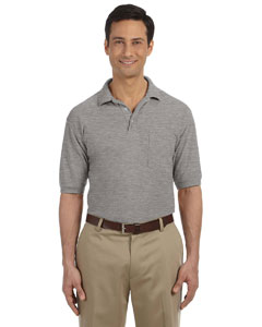 Grey Heather 5.6 oz. Easy Blend Polo with Pocket