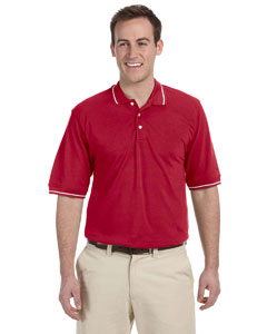 Red/white 5.6 oz. Tipped Easy Blend™ Polo