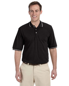 Black/white 5.6 oz. Tipped Easy Blend™ Polo