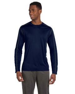 Navy/slate Men's Long-Sleeve Interlock Pieced T-Shirt