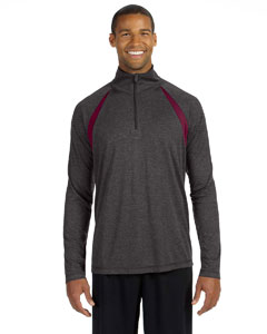Dk Gry Hth/sp Mr Men's Quarter-Zip Lightweight Pullover with Insets