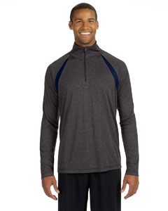 Dk Gry Hth/sp Nv Men's Quarter-Zip Lightweight Pullover with Insets