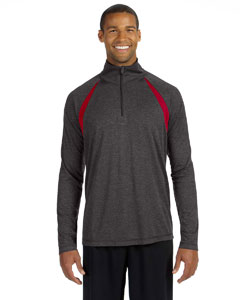 Dk Gry Hth/sp Rd Men's Quarter-Zip Lightweight Pullover with Insets