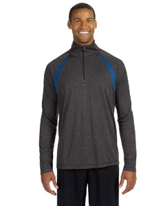 Dk Gry Hth/sp Ry Men's Quarter-Zip Lightweight Pullover with Insets