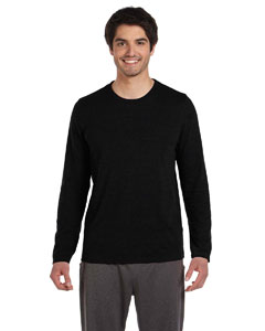Solid Black Trblnd Men's Performance Triblend Long-Sleeve T-Shirt