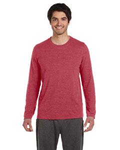 Red Hthr Trblnd Men's Performance Triblend Long-Sleeve T-Shirt