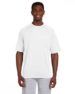 White/white 4.2 oz. Athletic Sport Colorblock T-Shirt