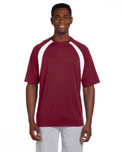 Maroon/white 4.2 oz. Athletic Sport Colorblock T-Shirt