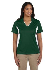 Dark Green/white Women's 3.8 oz. Side Blocked Micro Piqué Polo