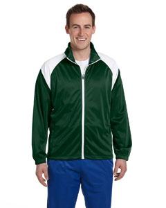 Dark Green/white Men's Tricot Track Jacket