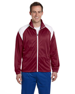 Maroon/white Men's Tricot Track Jacket