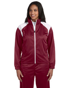 Maroon/white Women's Tricot Track Jacket