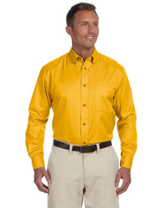 Sunray Yellow Men's Long-Sleeve Twill Shirt with Stain-Release