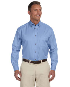 Light College Blue Men's Long-Sleeve Twill Shirt with Stain-Release