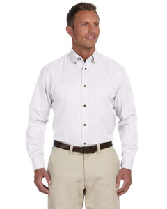 White Men's Long-Sleeve Twill Shirt with Stain-Release