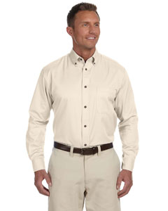 Creme Men's Long-Sleeve Twill Shirt with Stain-Release