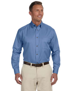Nautical Blue Men's Long-Sleeve Twill Shirt with Stain-Release