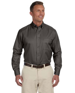 Dark Grey Men's Long-Sleeve Twill Shirt with Stain-Release