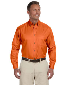 Team Orange Men's Long-Sleeve Twill Shirt with Stain-Release