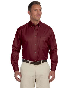 Wine Men's Long-Sleeve Twill Shirt with Stain-Release