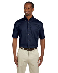 Navy Men's Short-Sleeve Twill Shirt with Stain-Release