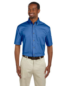 French Blue Men's Short-Sleeve Twill Shirt with Stain-Release
