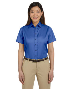 French Blue Women's Short-Sleeve Twill Shirt with Stain-Release