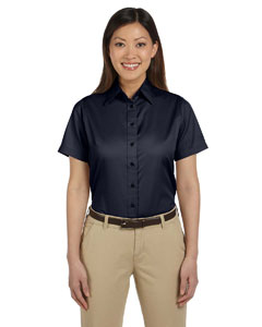 Navy Women's Short-Sleeve Twill Shirt with Stain-Release